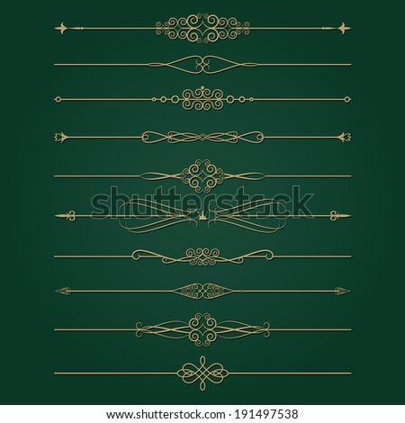Golden retro divider set. Calligraphic design elements. - stock vector