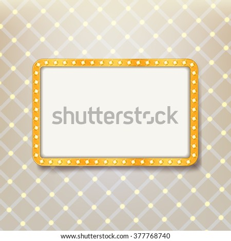 golden retro frame with light bulbs on royal pattern background. advertising or cinema billboard design template. vector - stock vector