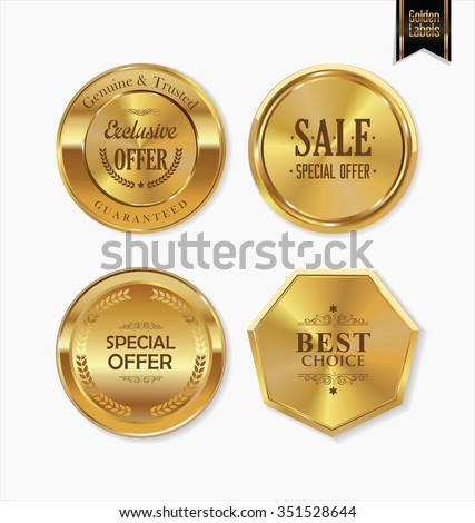 Golden retro labels collection - stock vector