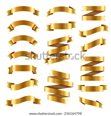 Golden Ribbon Big Set, Vector Illustration - stock vector