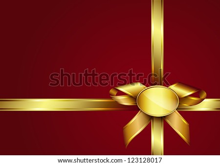 Golden ribbon bow and label on red invitation card. Design for gift card or present box with copy space foe text. Vector eps10 illustration. Raster file included in portfolio