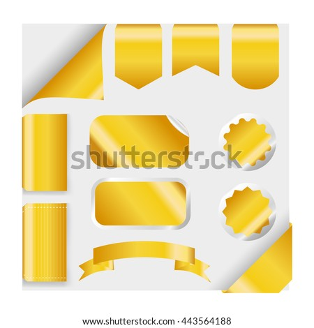 Golden Ribbons Set isolated On Grey Background. Vector Illustration