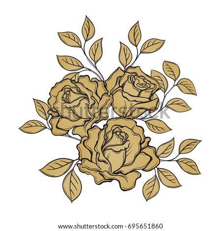Golden rose flowers and leaves on white background. Hand drawn vector illustration. Floral design elements