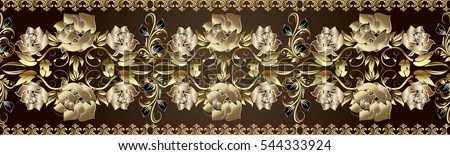 Golden roses seamless border. Vector floral pattern background wallpaper with vintage decorative gold 3d flowers, leaves and antique ornaments. Endless elegant rich texture.