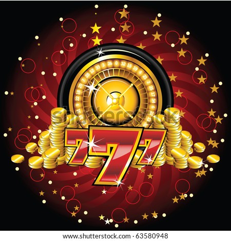 golden roulette wheel with coins and sevens - stock vector