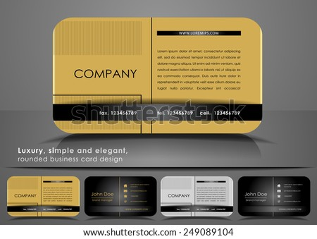 Golden rounded business card - stock vector