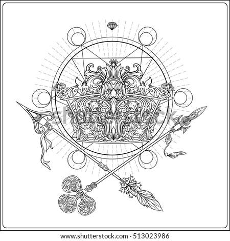 Golden Royal Crown Crossed Swords Sacred Stock Vector 513023986 ...