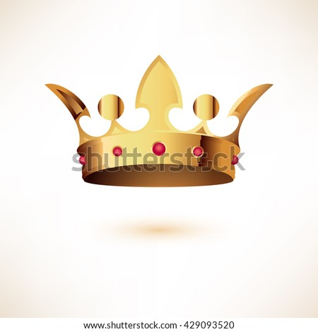 Golden Royal Crown. Isolated on white. Vector Illustration. - stock vector