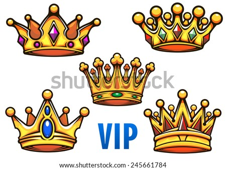 Golden royal crowns in cartoon style ornate decorated colorful jewels with blue caption VIP for heraldic, royal or coat of arms design - stock vector