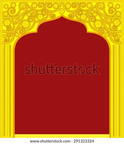 Golden Royal Door Frame - stock vector