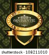 Golden royal label on green background - stock vector