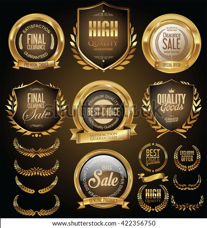 Golden sale shields laurel wreaths and badges collection - stock vector