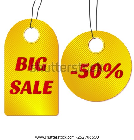 Golden sale tags or labels. Vector illustration. - stock vector