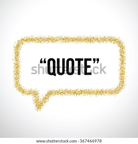 Golden sand speech bubble icon for text quote. Vector blank template - stock vector