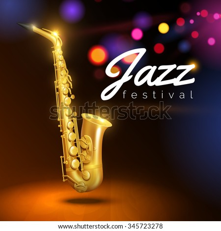 Golden saxophone on black background with colored lights and caption jazz festival  vector Illustration  - stock vector