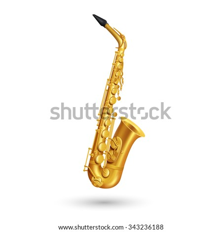 Golden saxophone on white background in cartoon style isolated vector Illustration - stock vector