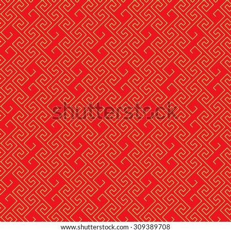 Golden seamless Chinese lattice spiral line S shape geometry pattern background.