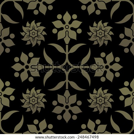 Golden seamless pattern. Floral elements, ornate background. Editable vector file.  - stock vector