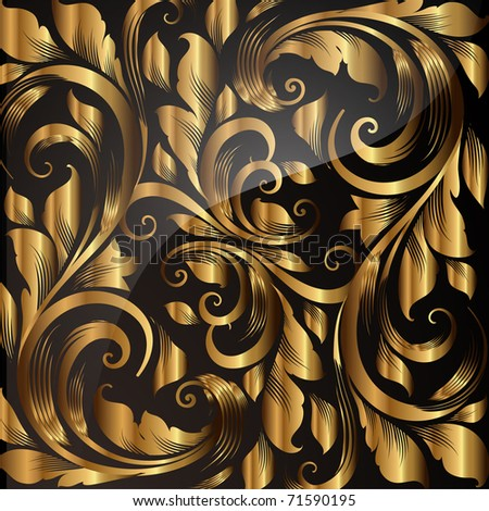 Golden Seamless Wallpaper, Vector Background - stock vector