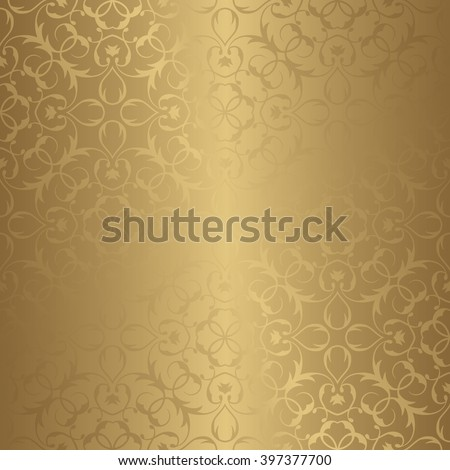 Golden Seamless Wallpaper. Vector Background. Seamless pattern with golden ornament. Template for your design