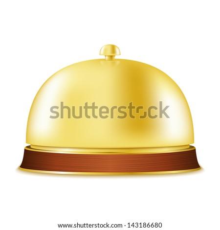 Golden service bell, vector eps10 illustration - stock vector