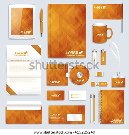 Golden set layout of vector corporate identity template. Business, science, medicine and technology design stationery mock-up. Background with gold triangles. Abstract branding presentation leaflet. - stock vector