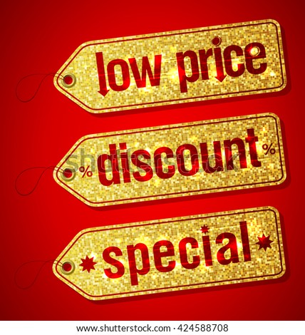 Golden set of  labels for discount sales - low price, discount and special - stock vector