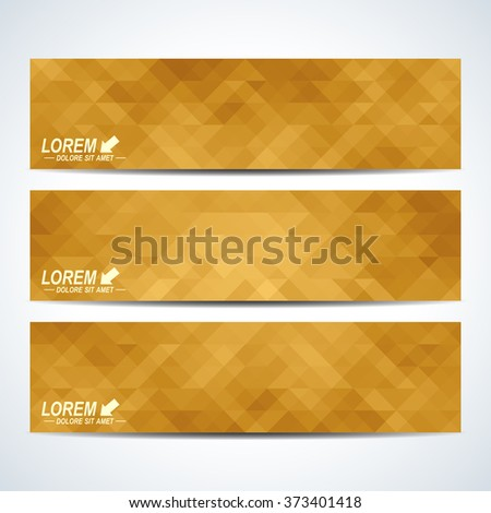 Golden set of vector banners. Background with gold triangles. Web banners, card, vip,  certificate, gift,  voucher. Modern business stylish design - stock vector