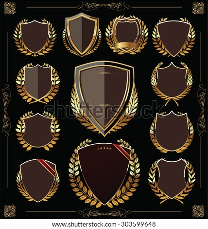 Golden shield and laurel wreath collection - stock vector