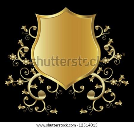 golden shield design - stock vector