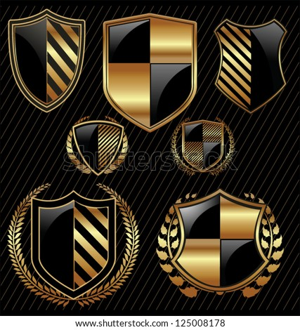Golden shield design set with laurel wreath - stock vector