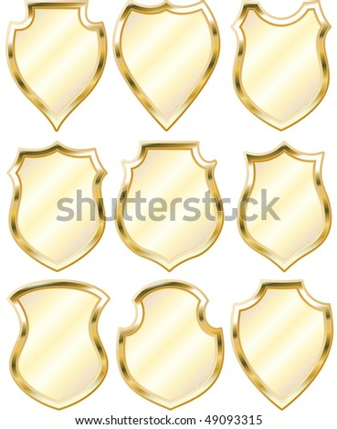golden shield design set with various shapes - stock vector