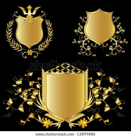 golden shield design set with various shapes and decoration - stock vector