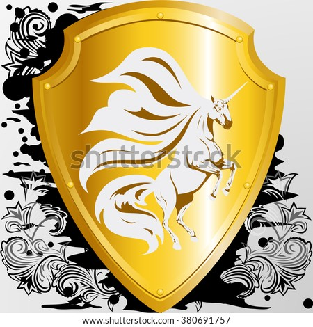 Golden shield with a unicorn