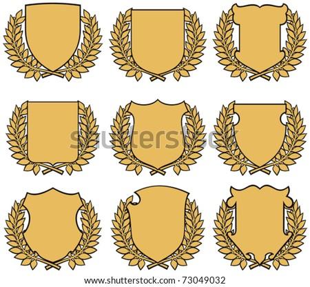 golden shield with laurel wreath - stock vector
