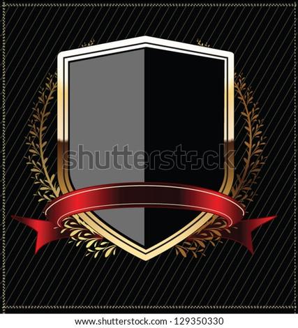 Golden shields with laurel wreath - stock vector