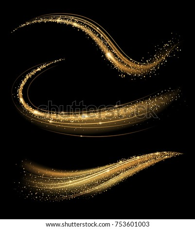Golden shimmering waves with light effect isolated on black background. Glittering star dust trail. Abstract motion. Magic swirl lines.