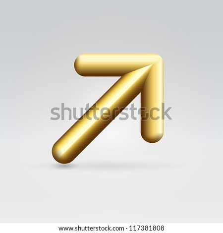 Golden shining rounded polished metallic arrow pointing right up over light neutral background