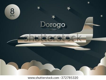 golden shiny business jet flying above the golden clouds. night scene wallpaper. vector illustration - stock vector