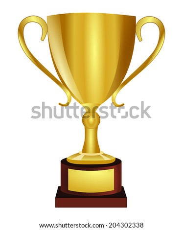 Golden shiny trophy, vector art image illustration, isolated on white background