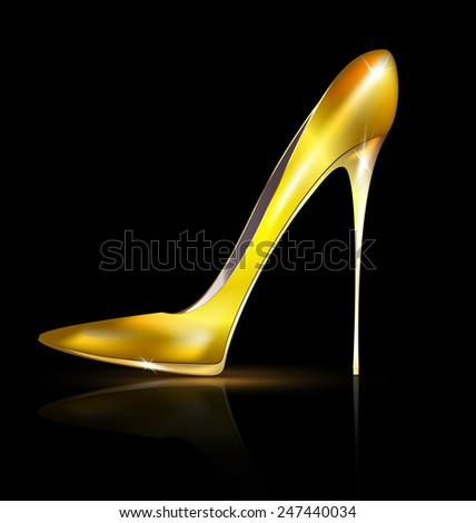 golden shoe - stock vector