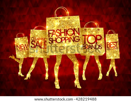 Golden shopping women silhouettes with paper shopping bags, funny fashion bags with slim legs and sample text - stock vector