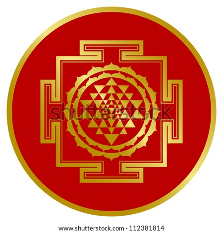 Golden Shree Yantra Design - stock vector