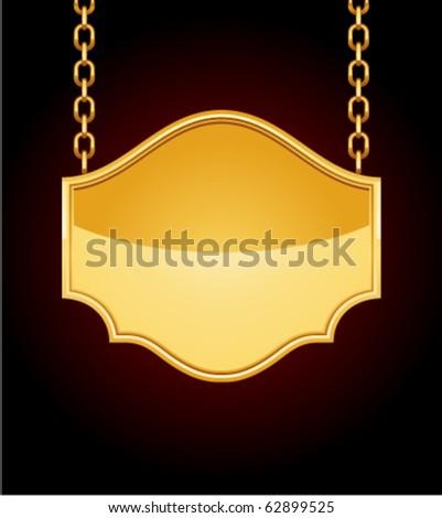 Golden sign on chain. Eps 10 - stock vector