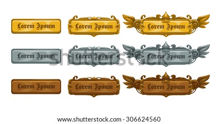 Golden, silver and bronze game templates, isolated vector elements - stock vector