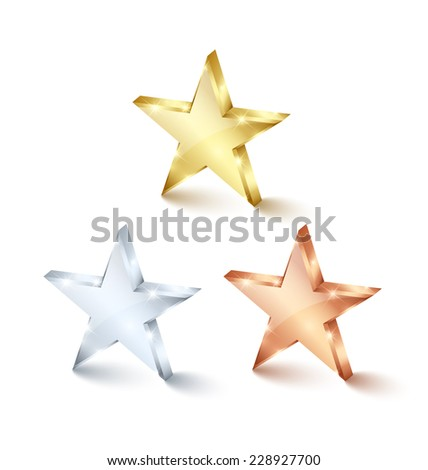 Golden, silver and bronze stars on white background - stock vector