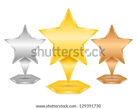 Golden, silver and bronze stars, vector eps10 illustration - stock vector