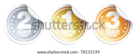 Golden, Silver, Bronze medals, winner stickers. - stock vector