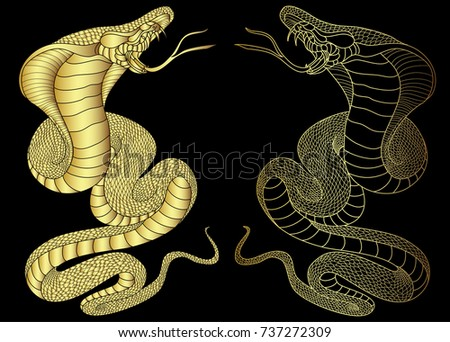 Golden snake cobra illustration for sticker and tattoo design asia tattoo style