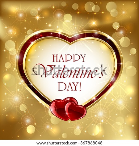 Golden sparkling valentines background with red hearts, illustration. - stock vector